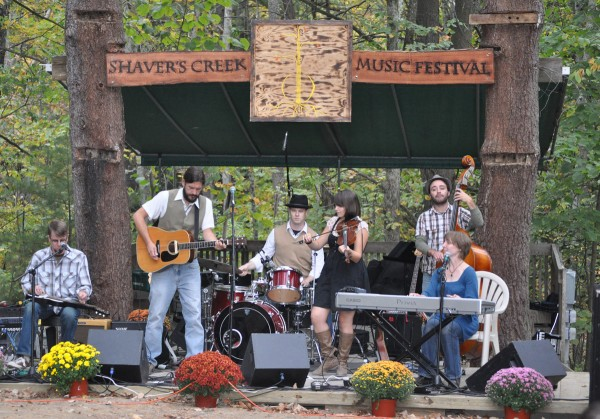 A band performs at the pavilion at Shaver's Creek