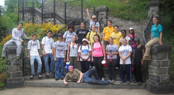 URSA students pose on the Fairmount Park steps
